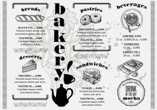 Menu bakery restaurant, food template placemat. Stock Image
