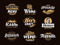 Menu bar, icons set. Labels of alcoholic drinks  Stock Photo