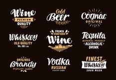 Menu bar, ikony ustawiać Etykietki alkoholiczni napoje ilustracji