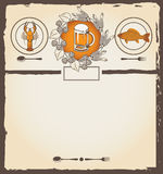 Menu for beer. Menu with a glass of beer, lobster and roach Royalty Free Stock Image
