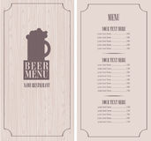 Menu with beer mug Stock Photography