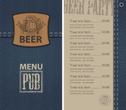 Menu for beer pub on denim background with price Stock Images
