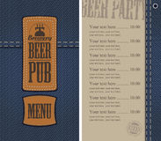 Menu for beer pub on denim background with price Stock Photos