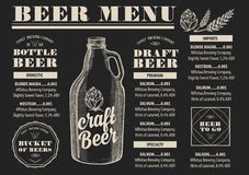 Menu beer restaurant, alcohol template placemat. Stock Images