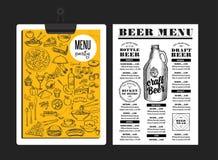 Menu beer restaurant, alcohol template placemat. Stock Image