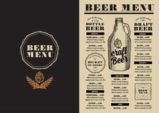 Menu beer restaurant, alcohol template placemat. Royalty Free Stock Image