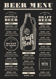 Menu beer restaurant, alcohol template placemat. Royalty Free Stock Images