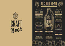 Menu beer restaurant, alcohol template placemat. Royalty Free Stock Photo