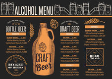 Menu beer restaurant, alcohol template placemat. Royalty Free Stock Photography