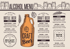 Menu beer restaurant, alcohol template placemat. Beer menu placemat food restaurant brochure; template design. Vintage creative alcohol flyer with hand-drawn stock illustration