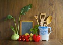 Menu black board food ingredients Royalty Free Stock Image