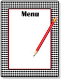 Menu, Black Gingham. Copy space to add text and art to customize this old-fashioned red, black and white gingham frame menu with red pencil Stock Photo