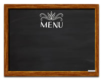 Menu on blackboard. Word menu and decorative design on blackboard or chalkboard with copy space, isolated on white background Royalty Free Stock Image