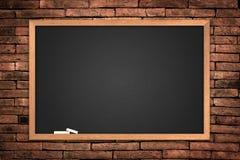Menu blackboard. On wall Brick mortar background royalty free stock photo