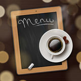 Menu blackboard background with cup of coffee Stock Images