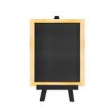 Menu Blackboard on black easel isolated on white background Royalty Free Stock Photo