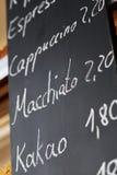 Menu On Blackboard In Coffee Shop Royalty Free Stock Photos