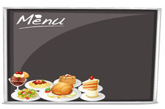 Menu on blackboard Stock Photos