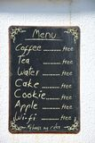 Menu on blackboard with copyspace for your text stock photography