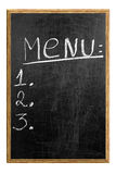Menu on the blackboard showing what is available. Royalty Free Stock Photo