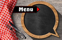 Menu - Blackboard Speech Bubble Shaped Royalty Free Stock Images