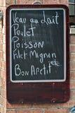 Menu. A blackboard menu on street Stock Image