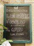 Menu on blackboard. Blackboard menu tasting prosciutto di San Daniele Royalty Free Stock Photography