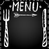 Menu blank drawn in chalk vector illustration