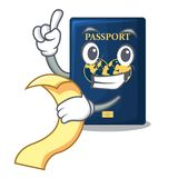 With menu blue passport in the mascot bag. Vector illustration royalty free illustration