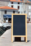 Menu board. Shot of menu board in Adriatic town Stock Photo