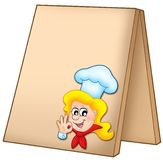 Menu board with cartoon chef woman Stock Photography