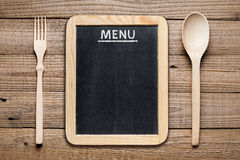 Menu board, fork and spoon Stock Image