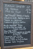 Menu board. Of French restaurant Stock Image