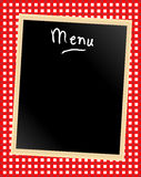 Menu board on gingham. A menu card chalkboard on gingham background. Space for text Stock Images