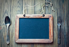 Menu board with slate Royalty Free Stock Image
