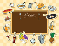 Menu board and various dishes Royalty Free Stock Images