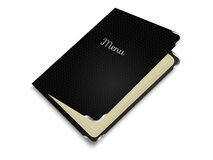Menu book. Restaurant menu in natural leather cover on white background stock illustration