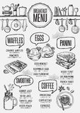 Menu breakfast restaurant, food template placemat. Stock Photography