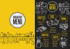 Menu breakfast restaurant, food template placemat. Breakfast menu placemat food restaurant brochure, template design. Vintage creative dinner flyer with hand Stock Photo