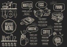 Menu breakfast restaurant, food template placemat. Royalty Free Stock Image