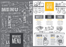Menu breakfast restaurant, food template placemat. Breakfast menu placemat food restaurant brochure, template design. Vintage creative dinner flyer with hand Royalty Free Stock Image