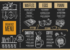Menu breakfast restaurant, food template placemat. Royalty Free Stock Photos