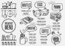 Menu breakfast restaurant, food template placemat. Stock Photography