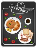 Menu for breakfast with toasted and pancake. Illustration Royalty Free Stock Photography