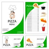Menu and business card for pizza Royalty Free Stock Photography