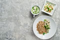 Menu business lunch restaurant, beef Stroganoff, green salad and chicken soup. stock photo