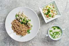 Menu business lunch restaurant, beef Stroganoff, green salad and chicken soup. royalty free stock images