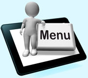 Menu Button With Character  Shows Ordering Food Menus Online Stock Images