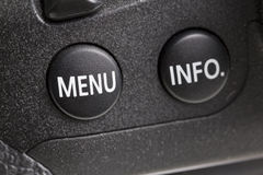 Menu button of a DSLR camera Royalty Free Stock Photos
