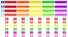 Menu Buttons Color Collection. Set of Menu buttons with home, recycle, favorites, email symbols in several color themes Stock Image